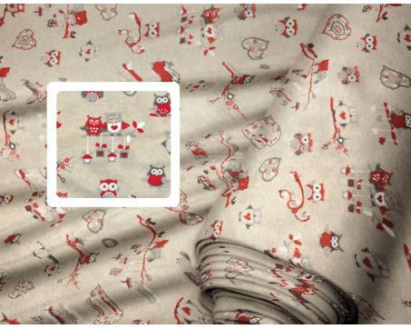 e48a7a2eadb5 Dekoračné látky - Sovy červené