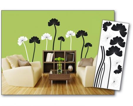 e9c1ef95f Dekoračné nálepky na stenu Kvety čiernobiele - 65 x 165 cm | Dimex.sk