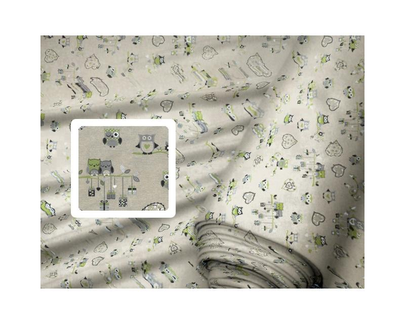 607eebb45044 Dekoračné látky - Sovy zelené